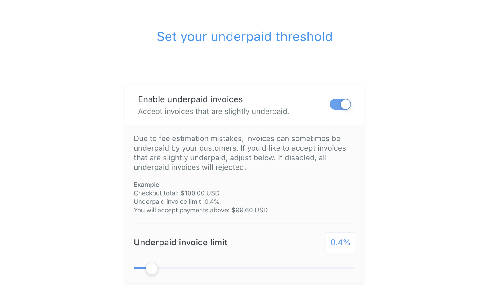 Image of setting an Underpaid threshold on the OpenNode platform